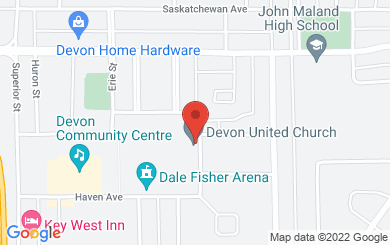Map to Devon United Church in Devon, AB